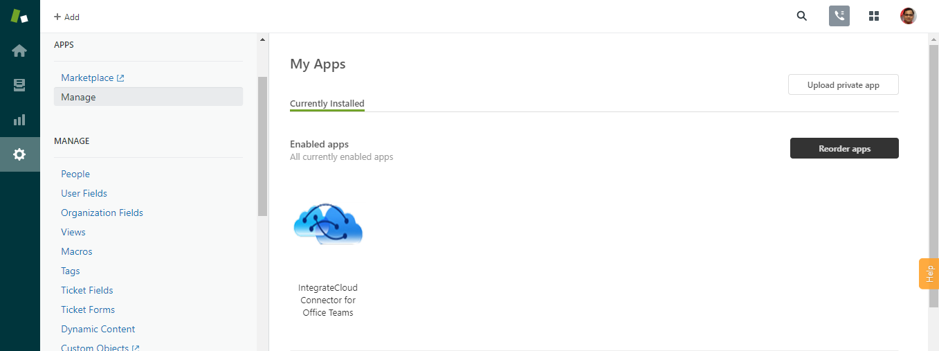 App in Manage Page