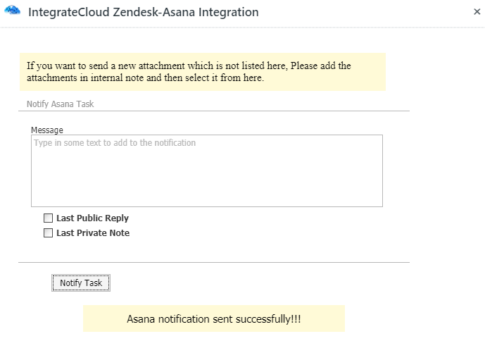 Asana Notification Sent Successfully
