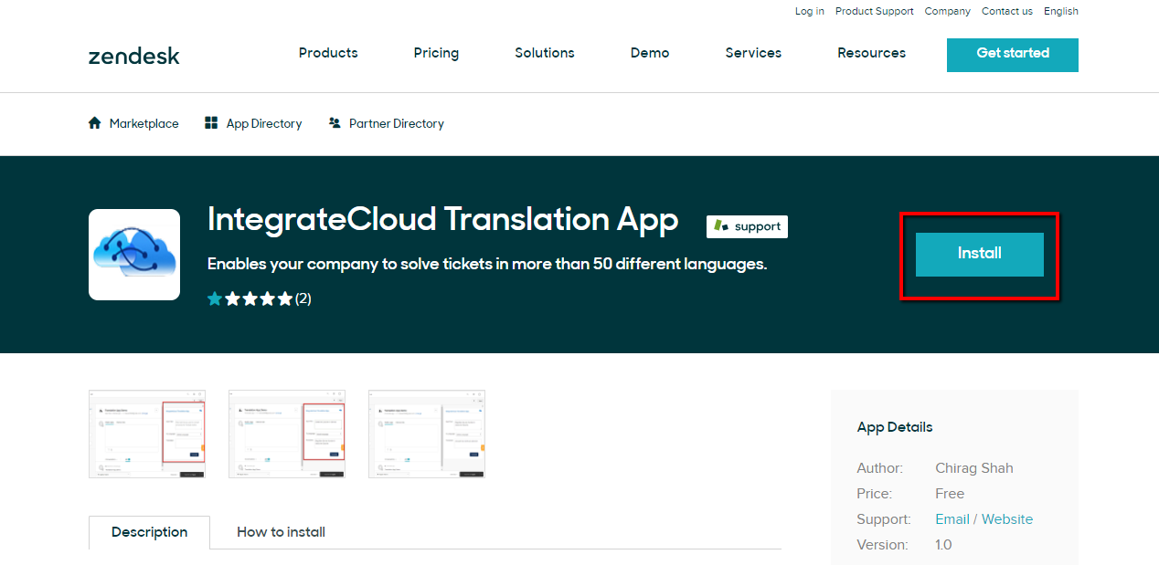 Install Zendesk Translation Connector from Zendesk Market Place