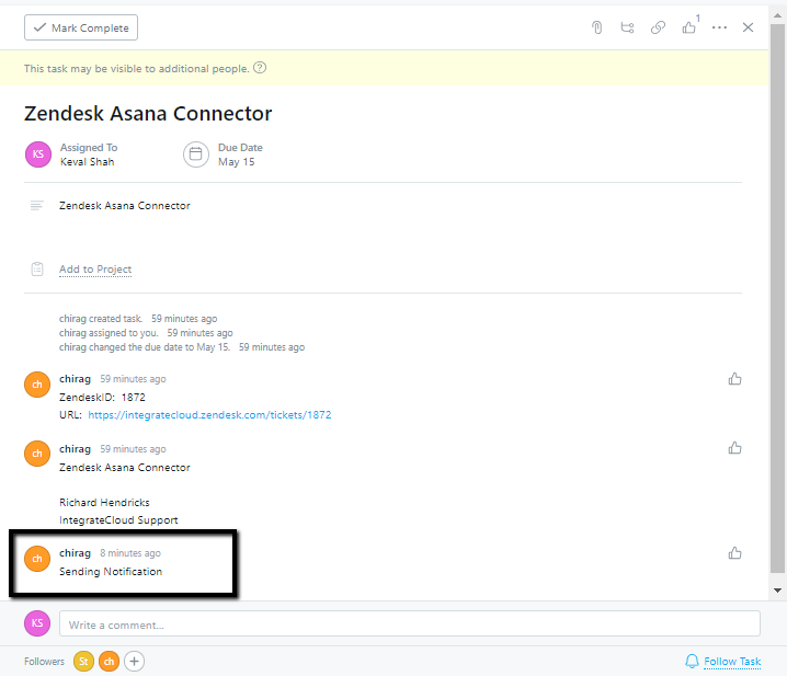 Notification in Asana