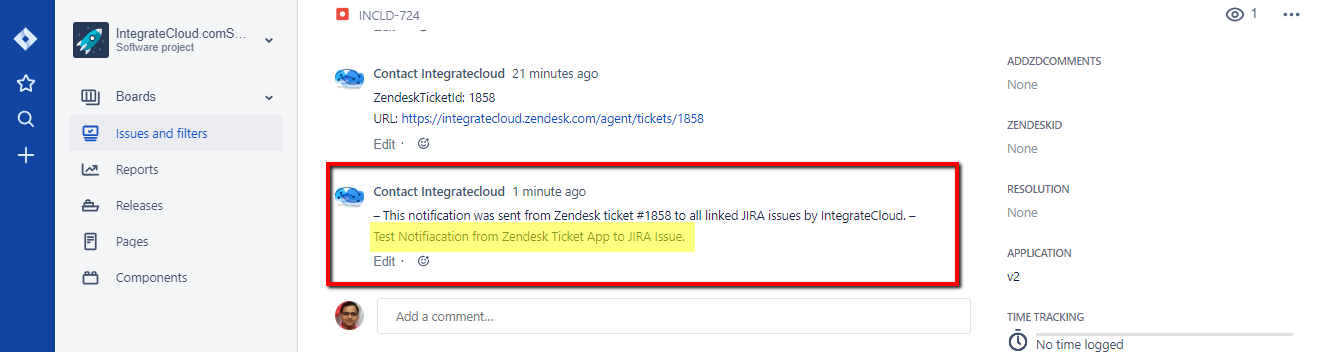 Notification Received to JIRA Issue
